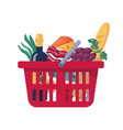 consumer food basket with bakery grocery products vector image