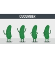 Cucumber Funny cartoon vegetables Organic food vector image
