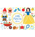 cute fairytale princess snow white set objects vector image