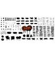 diverse set black paint - ink brush strokes vector image