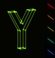 EPS10 glowing wireframe letter Y - easy to change vector image vector image