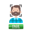 face recognition button biometrical identification vector image