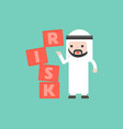 finger push the risk block with arab businessman vector image vector image