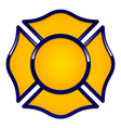 fire rescue logo base yellow with dark blue trim vector image vector image