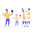 flat video blogger streamer animation set vector image vector image