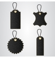 Four black leather VIP tag with gold thread hang vector image vector image