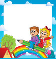 frame with pupil theme 1 vector image vector image