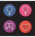 Gender symbols flat linear long shadow icons set vector image