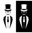 gentleman wearing suit retro hat vector image vector image