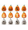 halloween jack o lantern pumpkins set vector image