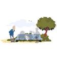 lonely elderly man in park vector image vector image