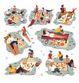 people gathered on picnic friends spending vector image