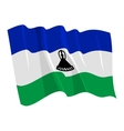 political waving flag of lesotho vector image vector image