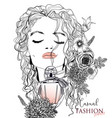 portrait of a young woman with perfume vector image vector image