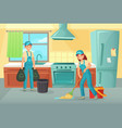 professional cleaning workers cleaning kitchen vector image