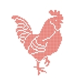 Red Rooster embroidered by cross isolated on white vector image