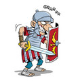 roman soldier with sword and shield in attack pose vector image