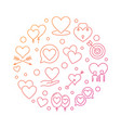 romantic friendship round colored linear vector image