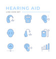 set color line icons hearing aid vector image vector image