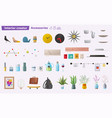 set of accessories for home interior vector image vector image