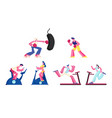 set women and men training in gym on exercise vector image vector image