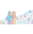 ski resort - colorful line design style vector image