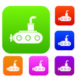 submarine set color collection vector image vector image