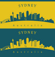 Sydney skylines in green and yellow background vector image