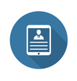 Tablet flat icon User Profile vector image