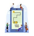 taxi online mobile application people order taxi vector image vector image