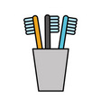 Tooth brushes in glass clean bath dent design vector image