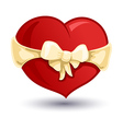 Valentine heart with a beige bow-knot vector image vector image