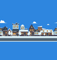 winter street banner cute snowy houses seamless vector image