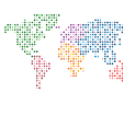 World map abstract colorful mosaic dotted vector image
