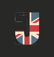 capital 3d letter j with uk flag texture isolated vector image