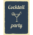 cocktail party retro poster blue vector image