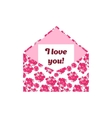 I love you letter in the pink envelope vector image