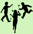 silhouettes of children playing vector image