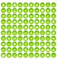 100 telephone icons set green circle vector image vector image