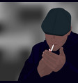 a young guy lights a cigarette flat cartoon vector image vector image