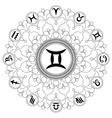 adult coloring book mandala zodiac symbol gemini vector image vector image