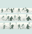 banners skiers with traces of skis vector image vector image