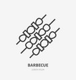 barbecue flat line icon thin sign of bbq vector image vector image
