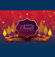 beautiful diwali greeting background with diya vector image vector image