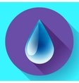 Blue shiny water drop icon Flat design style vector image vector image