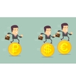Business people on the coins run vector image