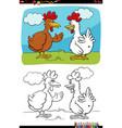 cartoon funny chickens talking coloring book page vector image vector image