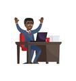cheerful black businessman at laptop vector image
