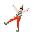 christmas elf character tangled in garland cute vector image vector image