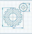 cogwheel drawing blue vector image